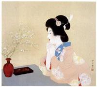 [図1] 伊東深水<雪柳>(1948-1949年)