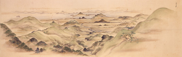 ▲参考資料:《久万山真景絵巻》第一巻の部分、久万美術館蔵